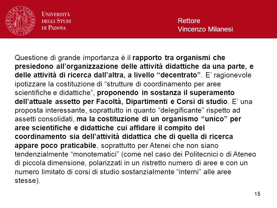 15 Rettore Vincenzo Milanesi Questione di grande importanza è il rapporto tra organismi che presiedono allorganizzazione delle attività didattiche da