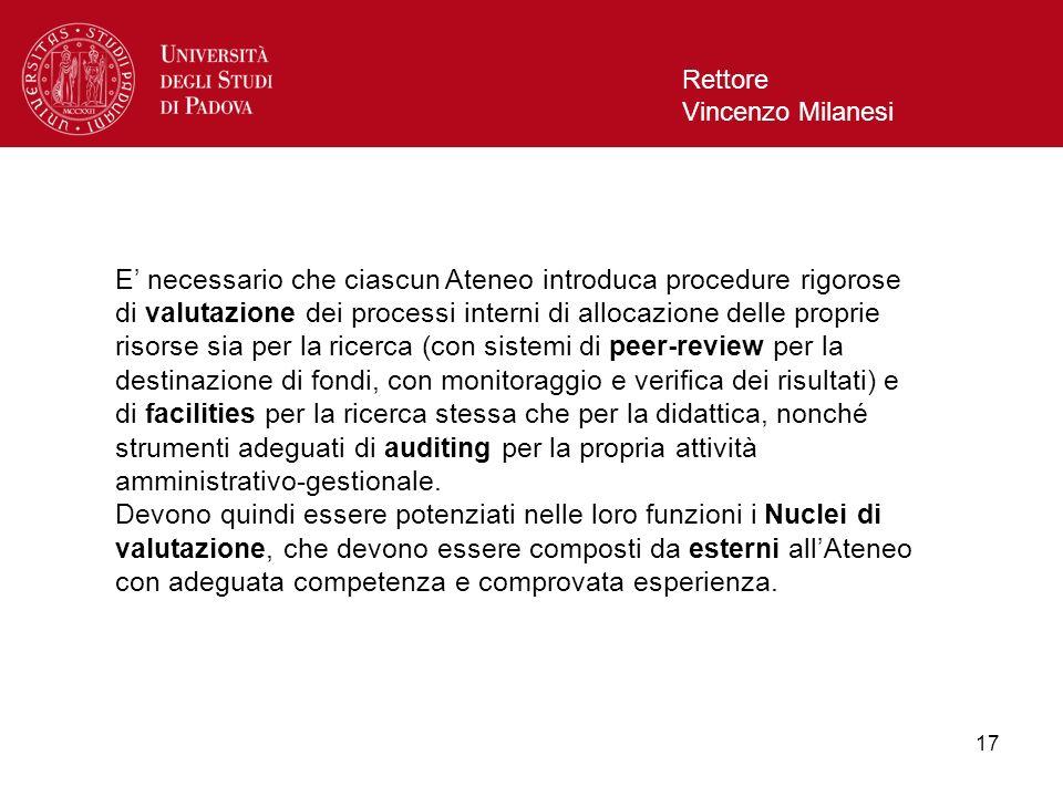 17 Rettore Vincenzo Milanesi E necessario che ciascun Ateneo introduca procedure rigorose di valutazione dei processi interni di allocazione delle pro