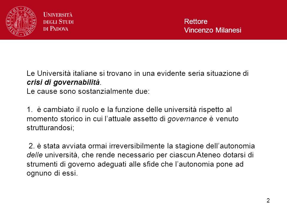 2 Rettore Vincenzo Milanesi Le Università italiane si trovano in una evidente seria situazione di crisi di governabilità. Le cause sono sostanzialment