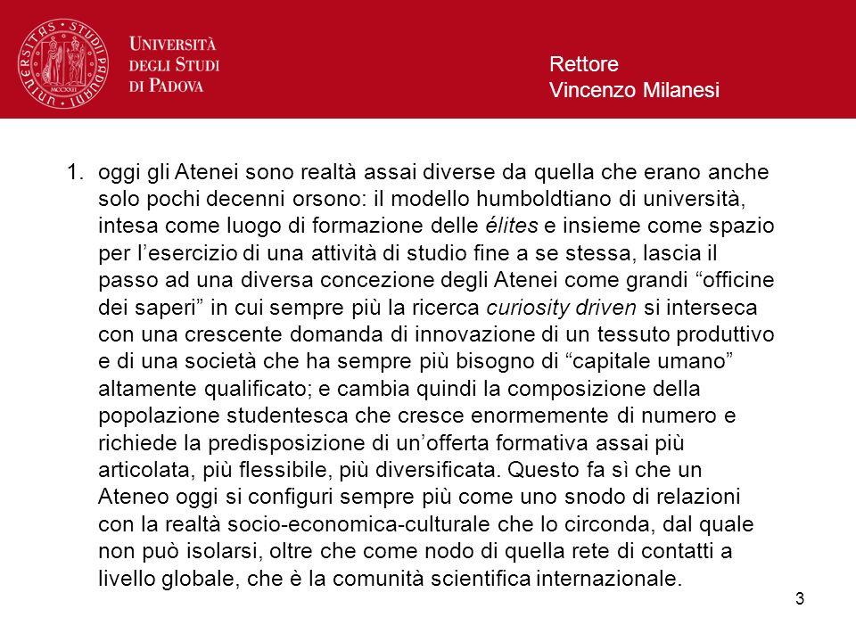 3 Rettore Vincenzo Milanesi 1.oggi gli Atenei sono realtà assai diverse da quella che erano anche solo pochi decenni orsono: il modello humboldtiano d
