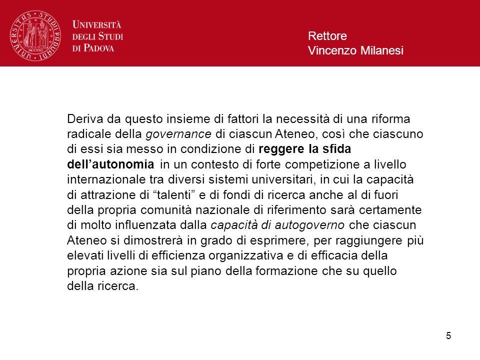 5 Rettore Vincenzo Milanesi Deriva da questo insieme di fattori la necessità di una riforma radicale della governance di ciascun Ateneo, così che cias