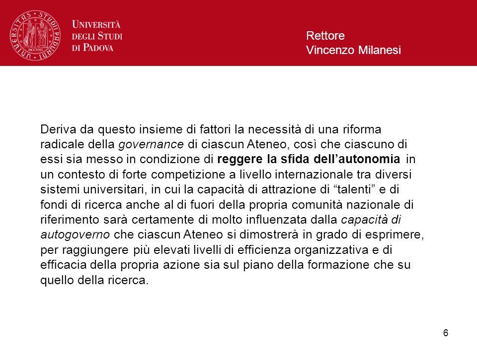 6 Rettore Vincenzo Milanesi Deriva da questo insieme di fattori la necessità di una riforma radicale della governance di ciascun Ateneo, così che cias