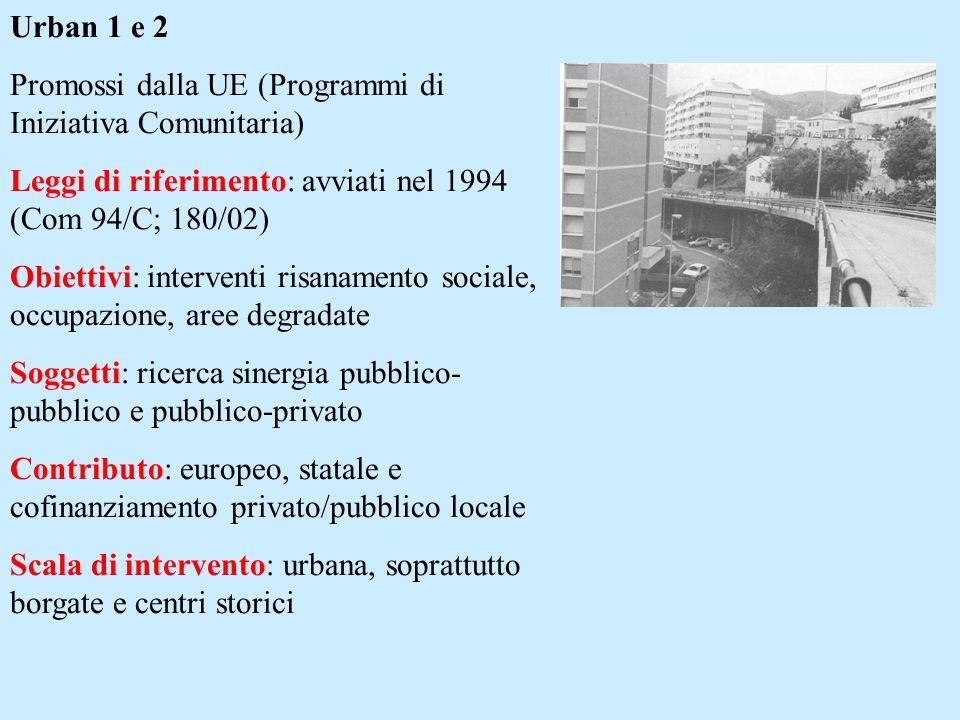 Urban 1 e 2 Promossi dalla UE (Programmi di Iniziativa Comunitaria) Leggi di riferimento: avviati nel 1994 (Com 94/C; 180/02) Obiettivi: interventi risanamento sociale, occupazione, aree degradate Soggetti: ricerca sinergia pubblico- pubblico e pubblico-privato Contributo: europeo, statale e cofinanziamento privato/pubblico locale Scala di intervento: urbana, soprattutto borgate e centri storici