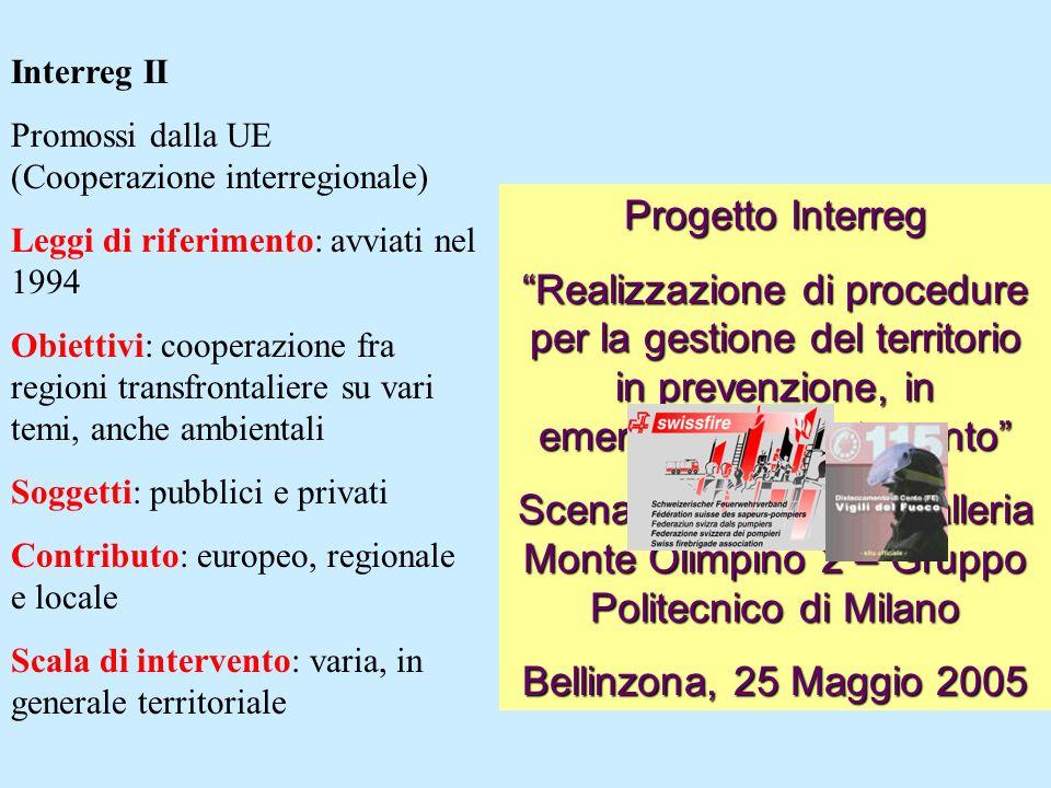 Interreg II Promossi dalla UE (Cooperazione interregionale) Leggi di riferimento: avviati nel 1994 Obiettivi: cooperazione fra regioni transfrontalier