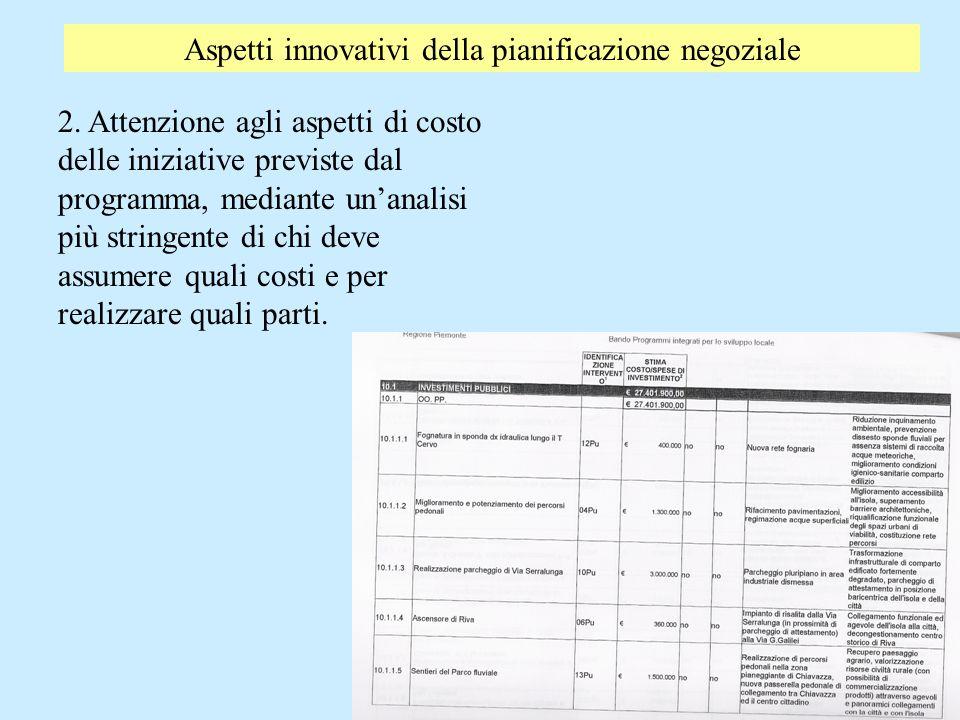 Aspetti innovativi della pianificazione negoziale 2. Attenzione agli aspetti di costo delle iniziative previste dal programma, mediante unanalisi più