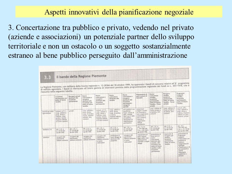 Aspetti innovativi della pianificazione negoziale 3. Concertazione tra pubblico e privato, vedendo nel privato (aziende e associazioni) un potenziale