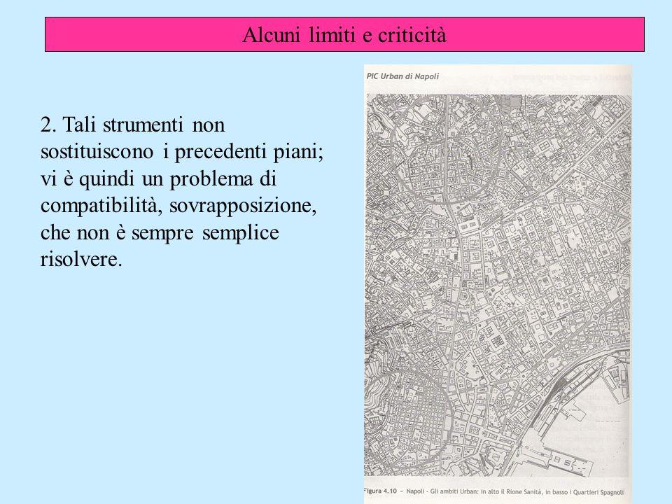 Alcuni limiti e criticità 2.