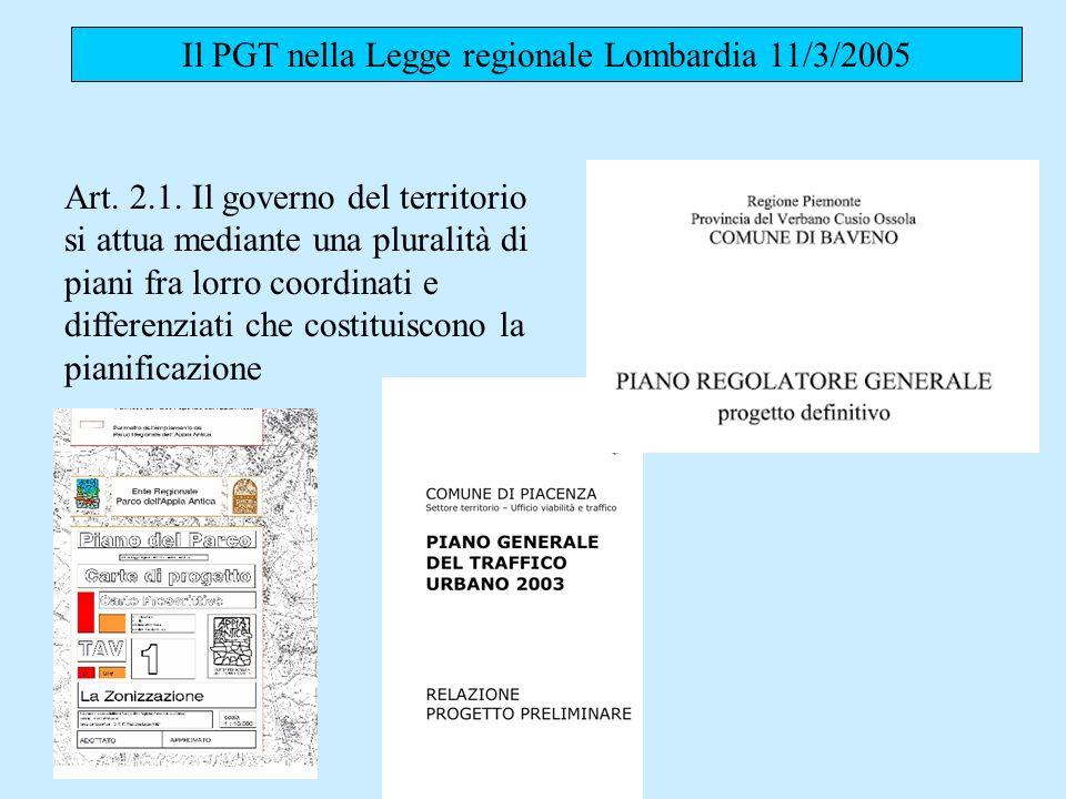 Il PGT nella Legge regionale Lombardia 11/3/2005 Art. 2.1. Il governo del territorio si attua mediante una pluralità di piani fra lorro coordinati e d