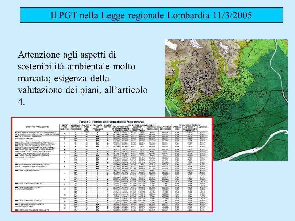 Il PGT nella Legge regionale Lombardia 11/3/2005 Attenzione agli aspetti di sostenibilità ambientale molto marcata; esigenza della valutazione dei piani, allarticolo 4.