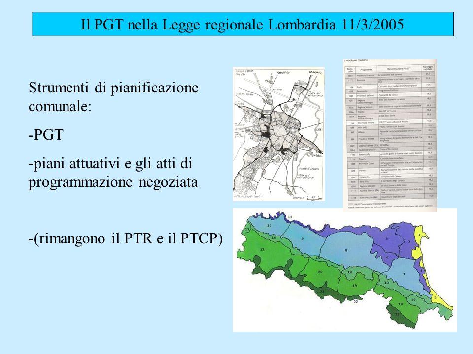 Il PGT nella Legge regionale Lombardia 11/3/2005 Strumenti di pianificazione comunale: -PGT -piani attuativi e gli atti di programmazione negoziata -(rimangono il PTR e il PTCP)