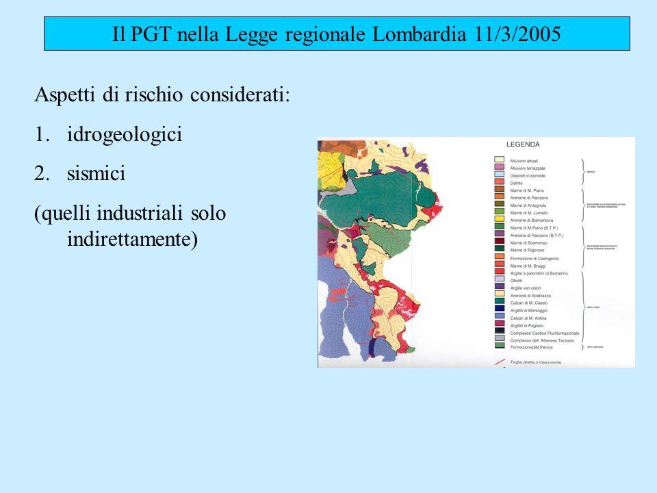 Il PGT nella Legge regionale Lombardia 11/3/2005 Aspetti di rischio considerati: 1.idrogeologici 2.sismici (quelli industriali solo indirettamente)