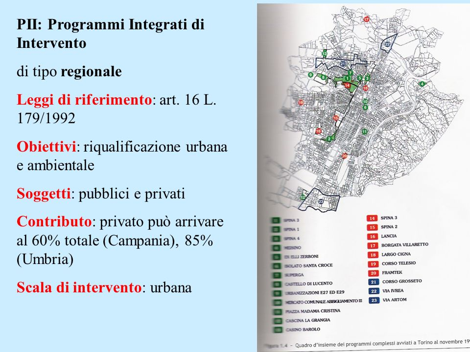 PII: Programmi Integrati di Intervento di tipo regionale Leggi di riferimento: art. 16 L. 179/1992 Obiettivi: riqualificazione urbana e ambientale Sog