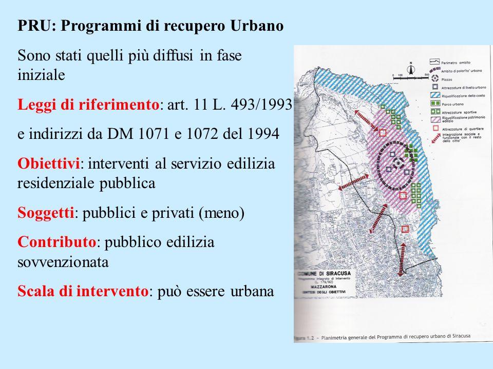PRU: Programmi di recupero Urbano Sono stati quelli più diffusi in fase iniziale Leggi di riferimento: art. 11 L. 493/1993 e indirizzi da DM 1071 e 10