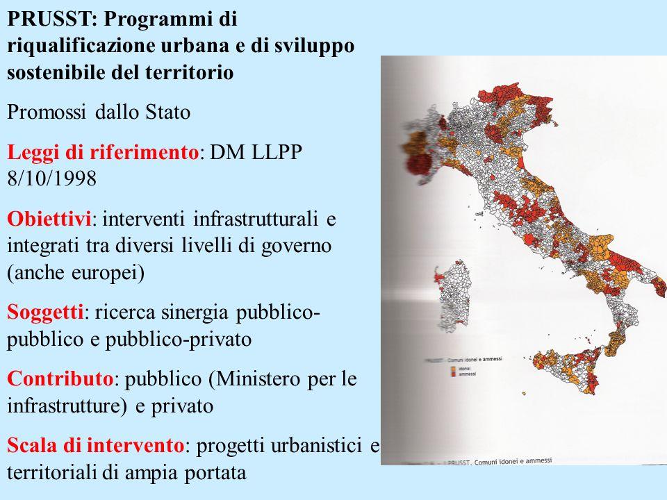 PRUSST: Programmi di riqualificazione urbana e di sviluppo sostenibile del territorio Promossi dallo Stato Leggi di riferimento: DM LLPP 8/10/1998 Obi