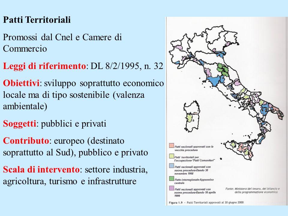 Patti Territoriali Promossi dal Cnel e Camere di Commercio Leggi di riferimento: DL 8/2/1995, n. 32 Obiettivi: sviluppo soprattutto economico locale m