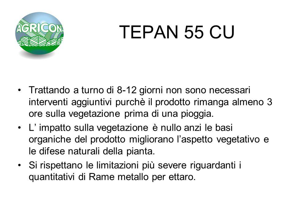TEPAN 55 CU Trattando a turno di 8-12 giorni non sono necessari interventi aggiuntivi purchè il prodotto rimanga almeno 3 ore sulla vegetazione prima