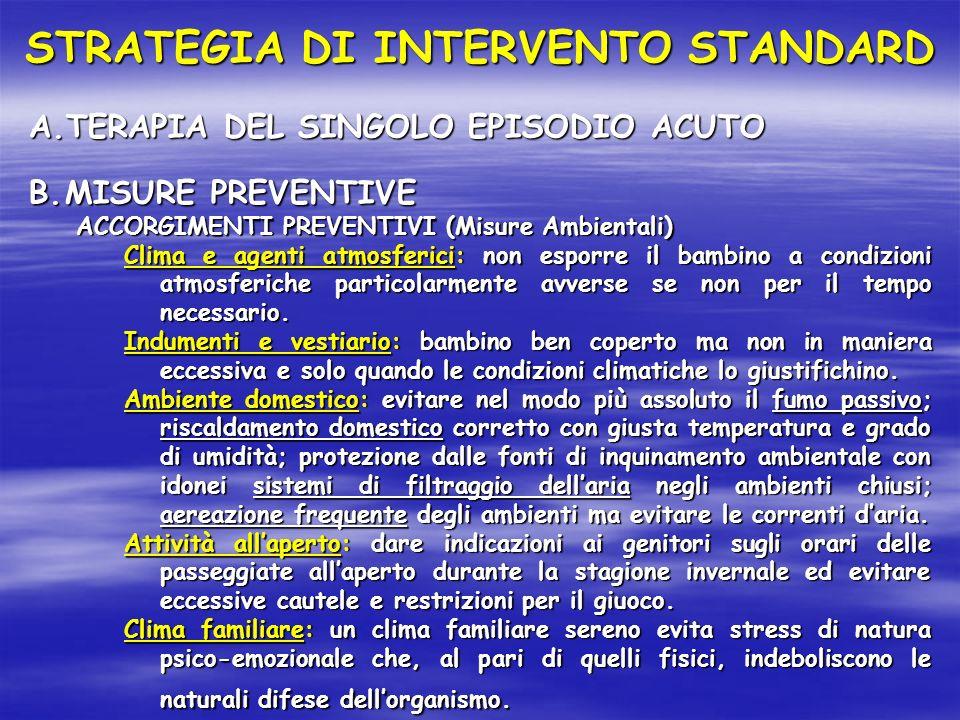 A.TERAPIA DEL SINGOLO EPISODIO ACUTO B.MISURE PREVENTIVE ACCORGIMENTI PREVENTIVI (Misure Ambientali) Clima e agenti atmosferici: non esporre il bambin