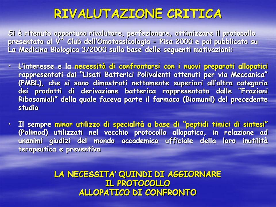 Si è ritenuto opportuno rivalutare, perfezionare, ottimizzare il protocollo presentato al V^ Club dellOmotossicologia - Pisa 2000 e poi pubblicato su