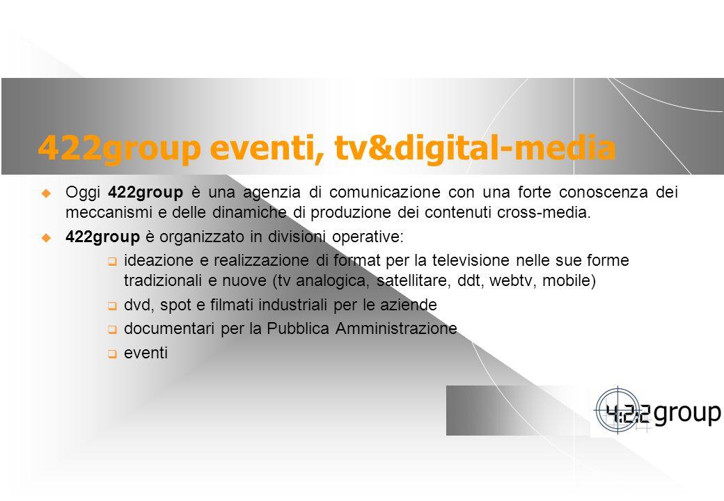 3 422group eventi, tv&digital-media Oggi 422group è una agenzia di comunicazione con una forte conoscenza dei meccanismi e delle dinamiche di produzione dei contenuti cross-media.