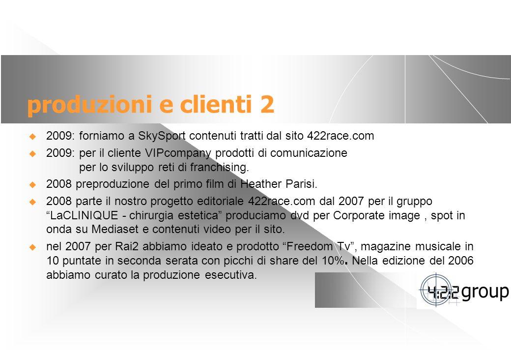 5 produzioni e clienti 2 2009: forniamo a SkySport contenuti tratti dal sito 422race.com 2009: per il cliente VIPcompany prodotti di comunicazione per lo sviluppo reti di franchising.