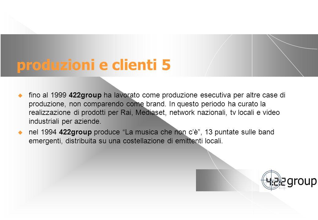 8 produzioni e clienti 5 fino al 1999 422group ha lavorato come produzione esecutiva per altre case di produzione, non comparendo come brand.
