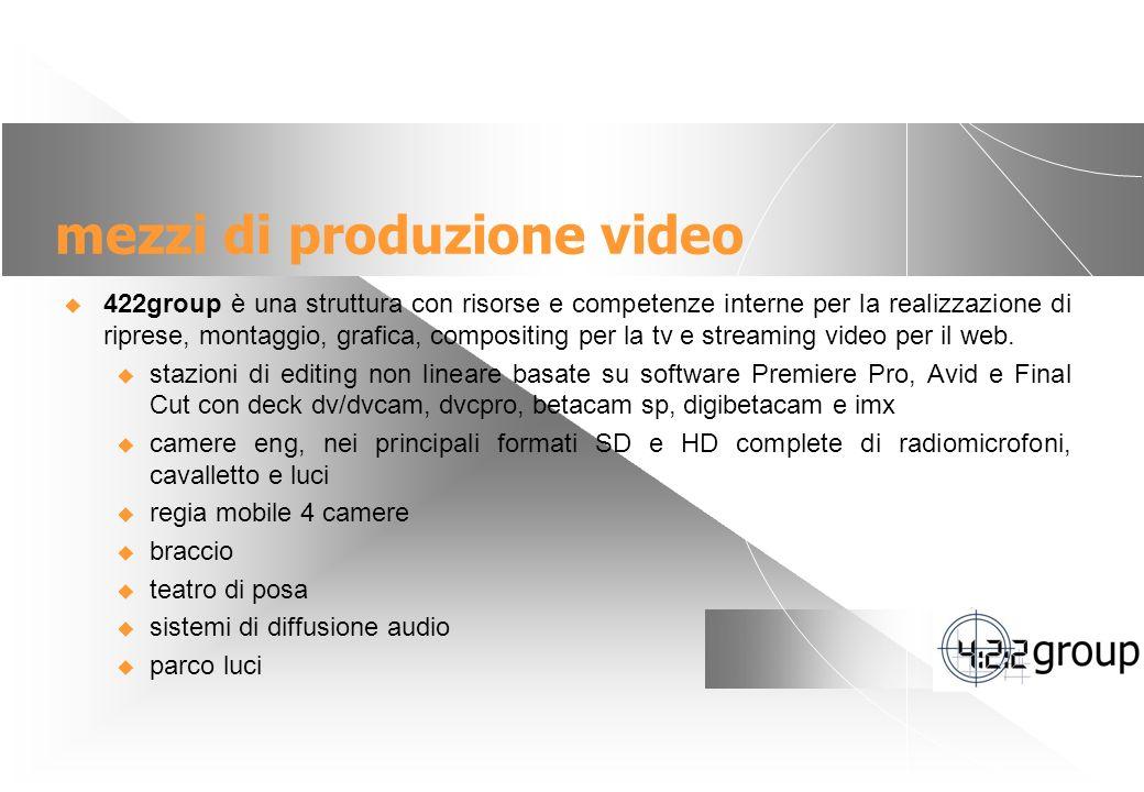 9 mezzi di produzione video 422group è una struttura con risorse e competenze interne per la realizzazione di riprese, montaggio, grafica, compositing per la tv e streaming video per il web.