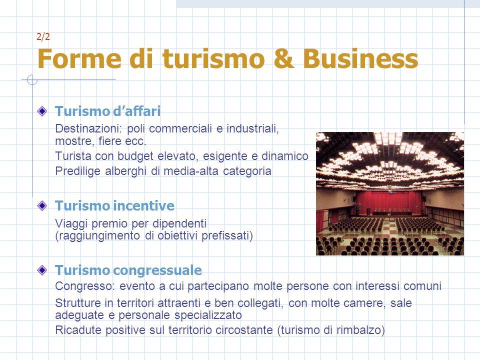 2/2 Forme di turismo & Business Turismo daffari Destinazioni: poli commerciali e industriali, mostre, fiere ecc. Turista con budget elevato, esigente