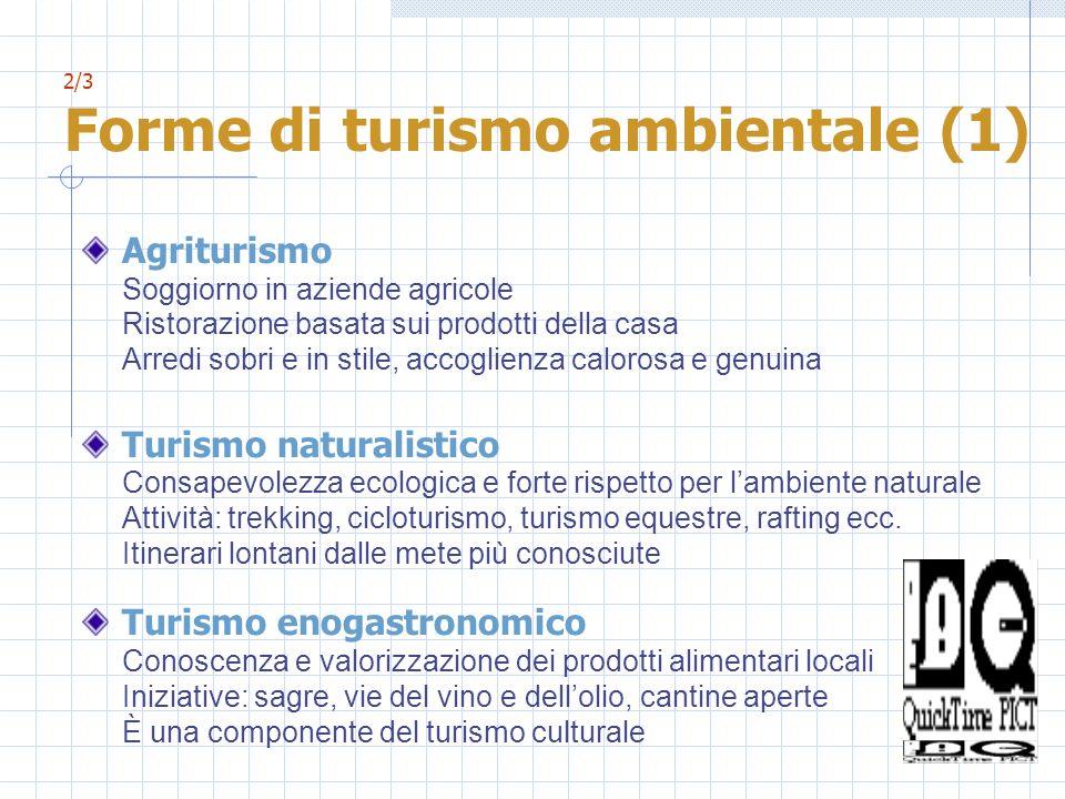 2/3 Forme di turismo ambientale (1) Agriturismo Soggiorno in aziende agricole Ristorazione basata sui prodotti della casa Arredi sobri e in stile, acc