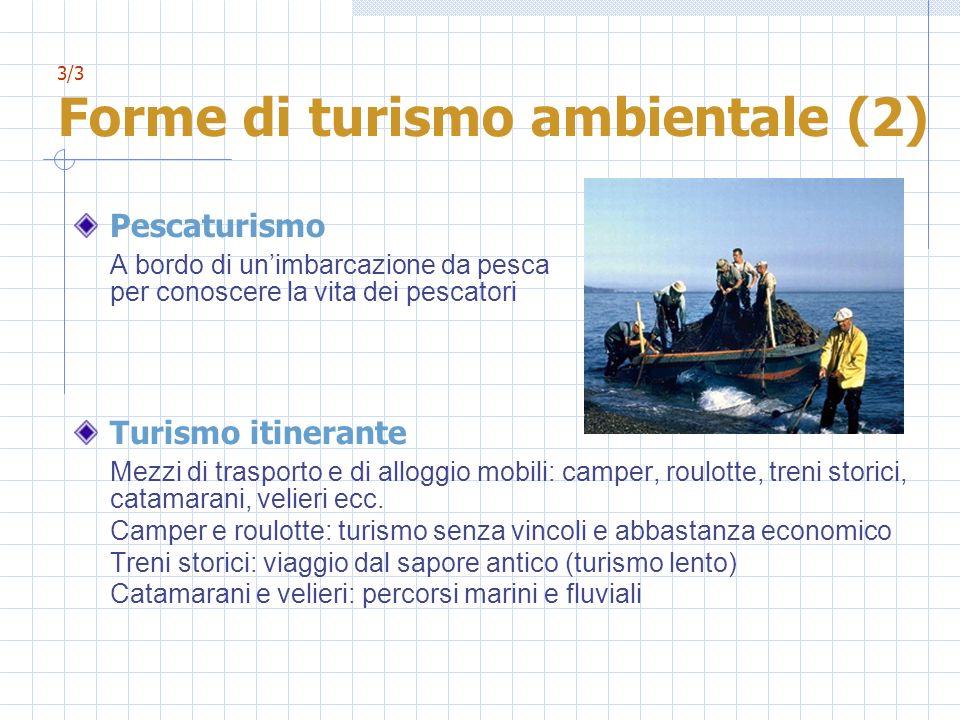 3/3 Forme di turismo ambientale (2) Pescaturismo A bordo di unimbarcazione da pesca per conoscere la vita dei pescatori Turismo itinerante Mezzi di tr