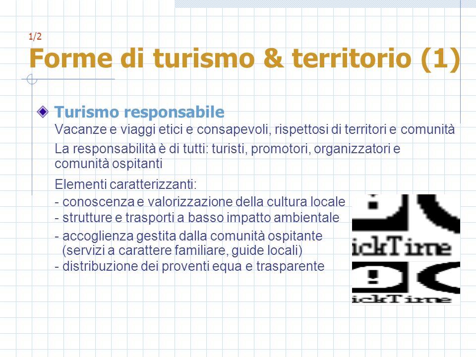 1/2 Forme di turismo & territorio (1) Turismo responsabile Vacanze e viaggi etici e consapevoli, rispettosi di territori e comunità La responsabilità