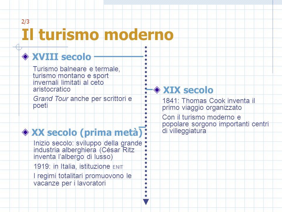 2/3 Il turismo moderno XVIII secolo XIX secolo 1841: Thomas Cook inventa il primo viaggio organizzato Con il turismo moderno e popolare sorgono import