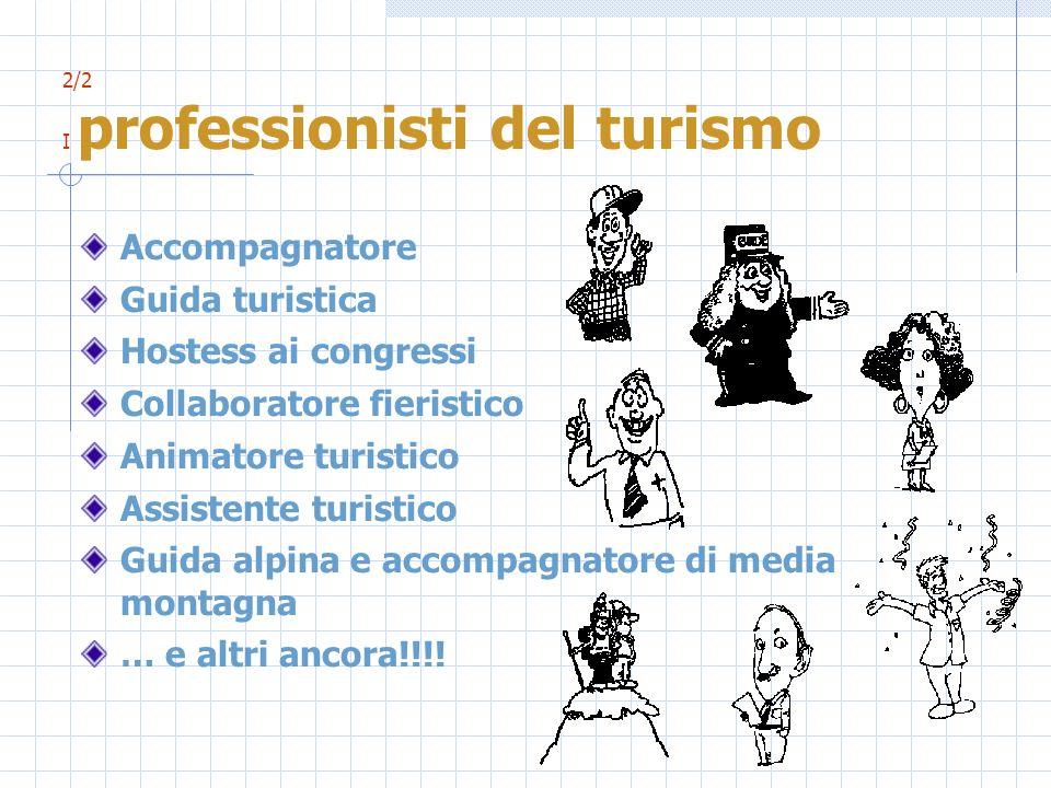 2/2 I professionisti del turismo Accompagnatore Guida turistica Hostess ai congressi Collaboratore fieristico Animatore turistico Assistente turistico