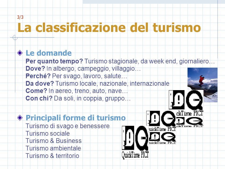 3/3 La classificazione del turismo Le domande Per quanto tempo? Turismo stagionale, da week end, giornaliero… Dove? In albergo, campeggio, villaggio…