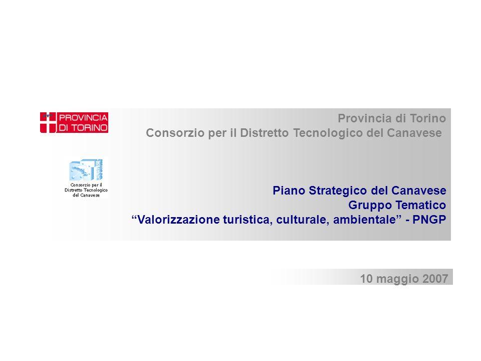 10 maggio 2007 Provincia di Torino Consorzio per il Distretto Tecnologico del Canavese Piano Strategico del Canavese Gruppo Tematico Valorizzazione turistica, culturale, ambientale - PNGP