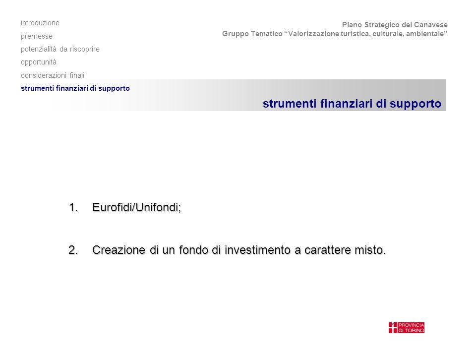 Piano Strategico del Canavese Gruppo Tematico Valorizzazione turistica, culturale, ambientale strumenti finanziari di supporto 1.Eurofidi/Unifondi; 2.Creazione di un fondo di investimento a carattere misto.