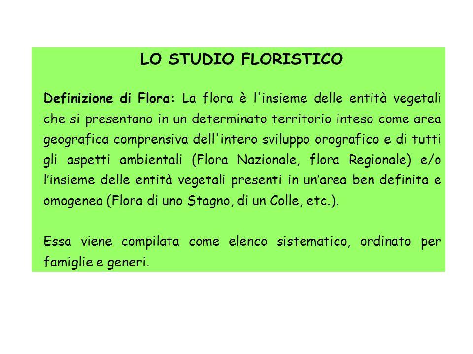 LO STUDIO FLORISTICO Definizione di Flora: La flora è l'insieme delle entità vegetali che si presentano in un determinato territorio inteso come area