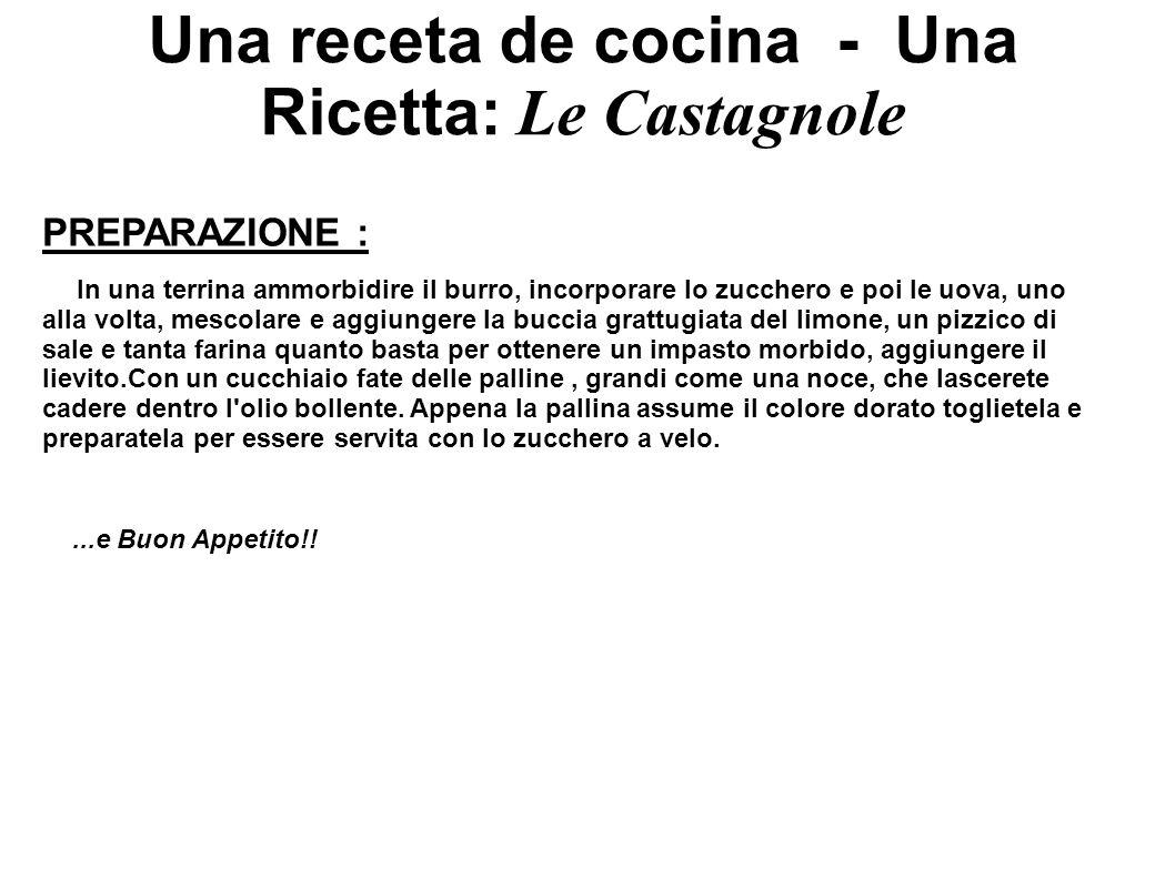 Una receta de cocina - Una Ricetta: Le Castagnole PREPARAZIONE : In una terrina ammorbidire il burro, incorporare lo zucchero e poi le uova, uno alla