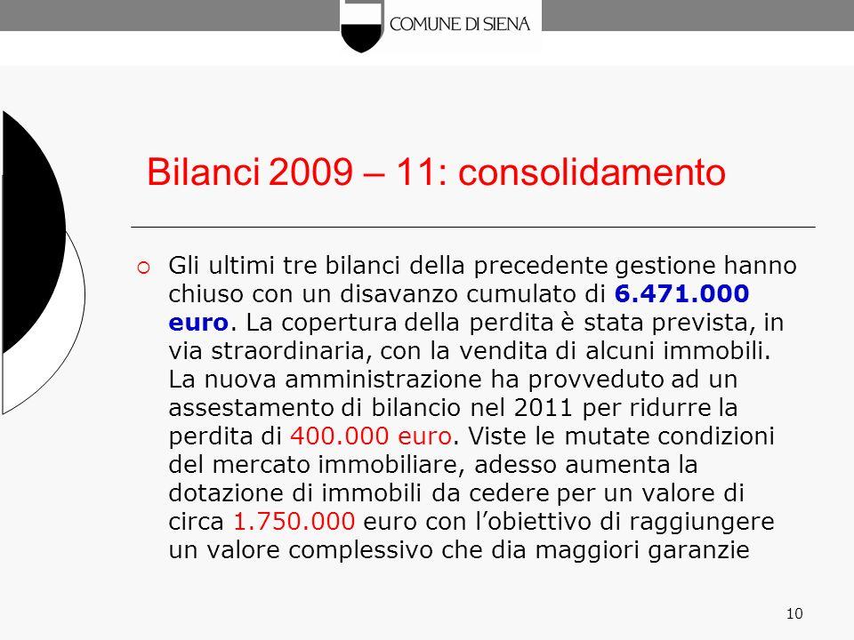 10 Bilanci 2009 – 11: consolidamento Gli ultimi tre bilanci della precedente gestione hanno chiuso con un disavanzo cumulato di 6.471.000 euro.