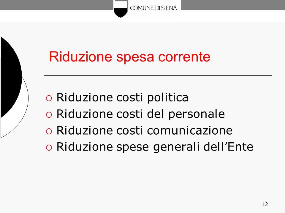 12 Riduzione spesa corrente Riduzione costi politica Riduzione costi del personale Riduzione costi comunicazione Riduzione spese generali dellEnte