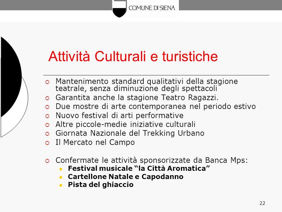 22 Attività Culturali e turistiche Mantenimento standard qualitativi della stagione teatrale, senza diminuzione degli spettacoli Garantita anche la stagione Teatro Ragazzi.