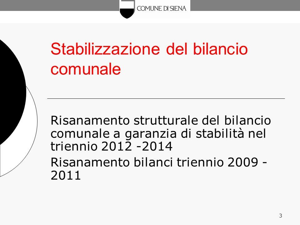 3 Stabilizzazione del bilancio comunale Risanamento strutturale del bilancio comunale a garanzia di stabilità nel triennio 2012 -2014 Risanamento bilanci triennio 2009 - 2011