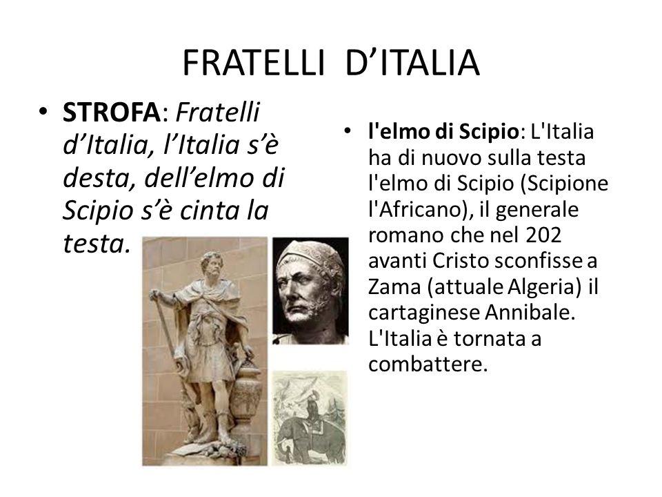 FRATELLI DITALIA STROFA: Fratelli dItalia, lItalia sè desta, dellelmo di Scipio sè cinta la testa. l'elmo di Scipio: L'Italia ha di nuovo sulla testa