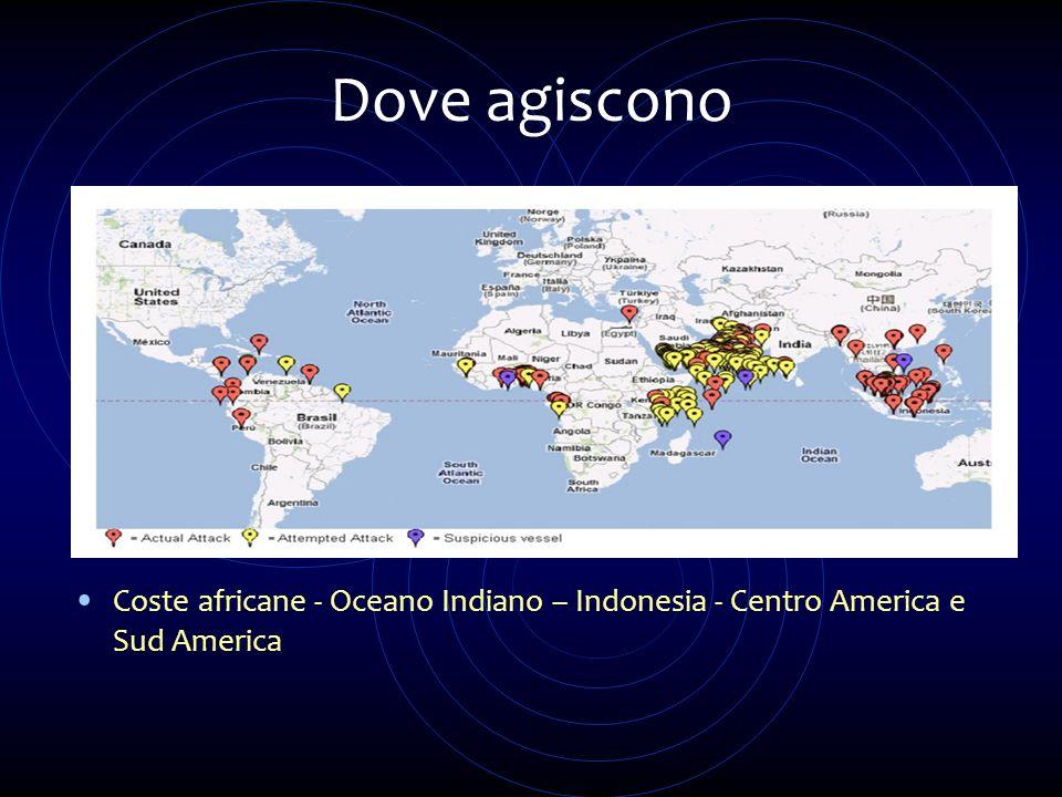 Dove agiscono Coste africane - Oceano Indiano – Indonesia - Centro America e Sud America