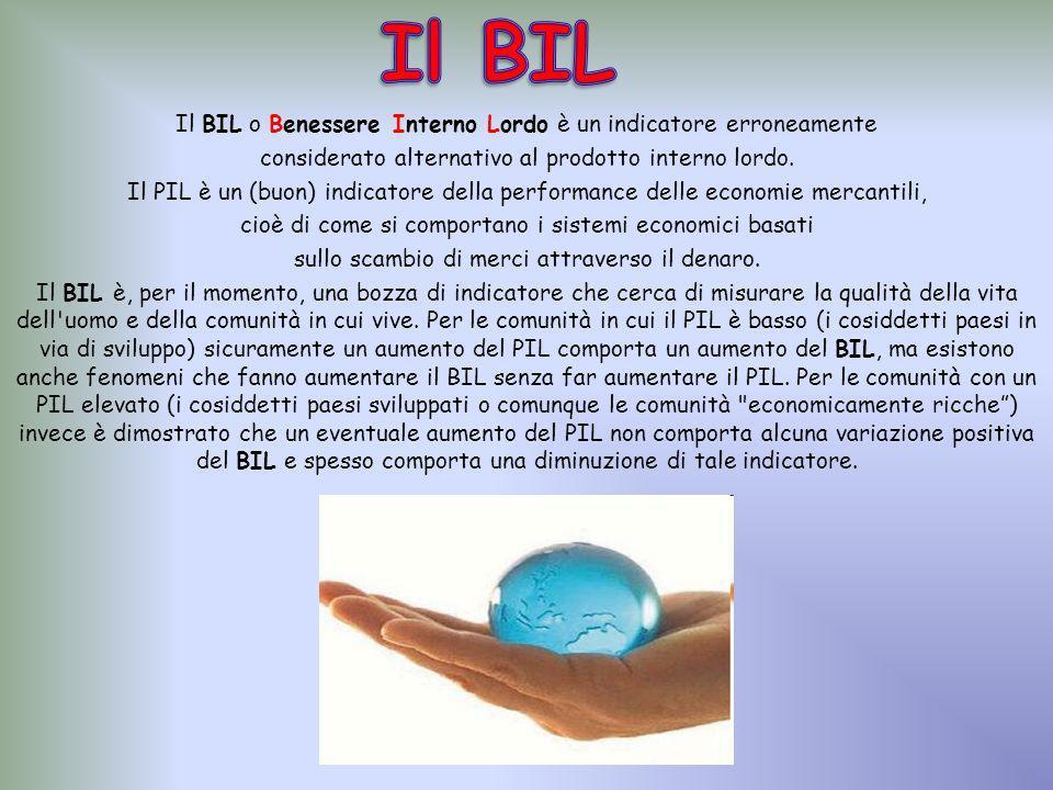 Il BIL o Benessere Interno Lordo è un indicatore erroneamente considerato alternativo al prodotto interno lordo.