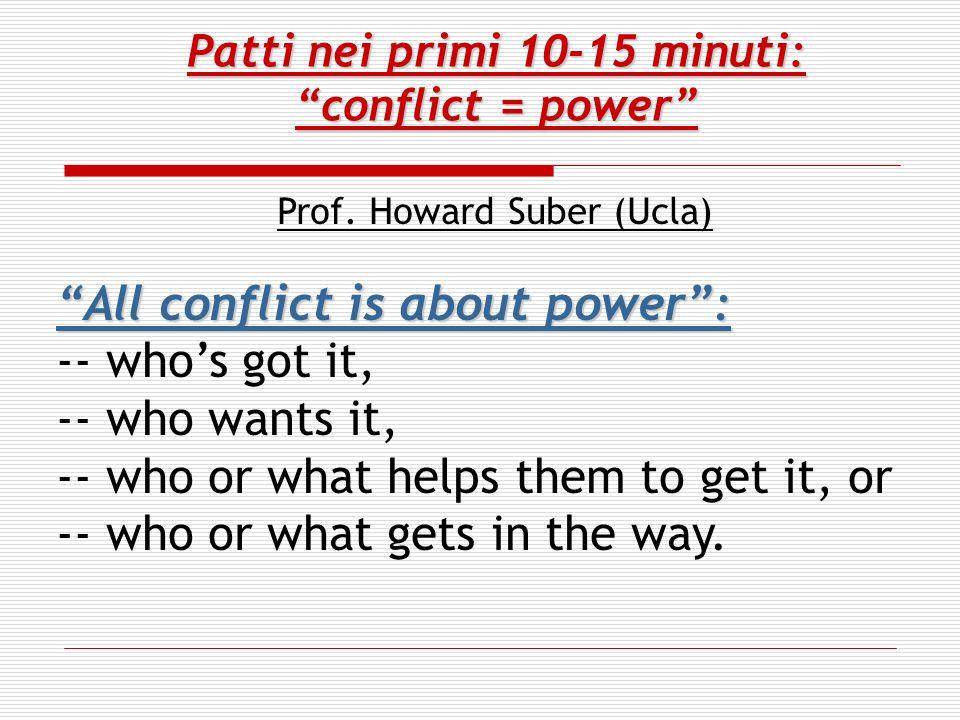 Patti nei primi 10-15 minuti: conflict = power Prof.