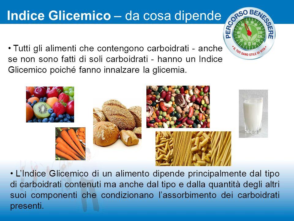 Tutti gli alimenti che contengono carboidrati - anche se non sono fatti di soli carboidrati - hanno un Indice Glicemico poiché fanno innalzare la glic