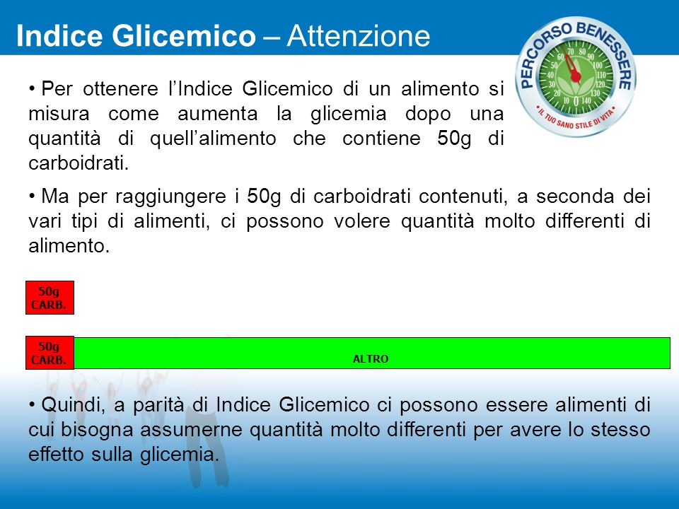 Per ottenere lIndice Glicemico di un alimento si misura come aumenta la glicemia dopo una quantità di quellalimento che contiene 50g di carboidrati. M