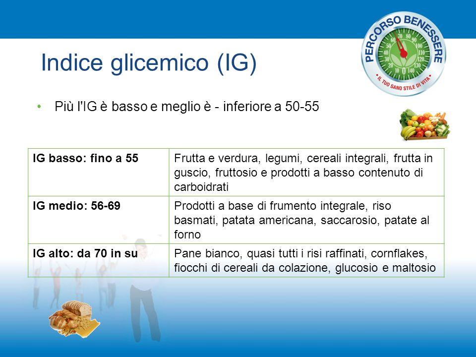 Indice glicemico (IG) Più l'IG è basso e meglio è - inferiore a 50-55 IG basso: fino a 55Frutta e verdura, legumi, cereali integrali, frutta in guscio