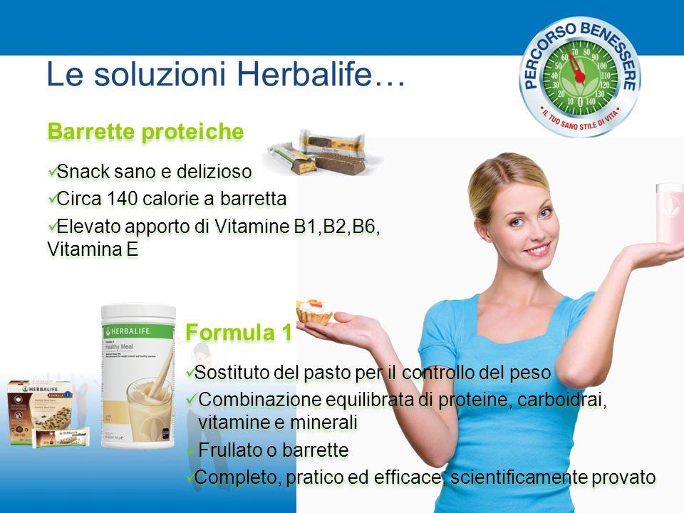 Le soluzioni Herbalife… Barrette proteiche Snack sano e delizioso Circa 140 calorie a barretta Elevato apporto di Vitamine B1,B2,B6, Vitamina E Barret