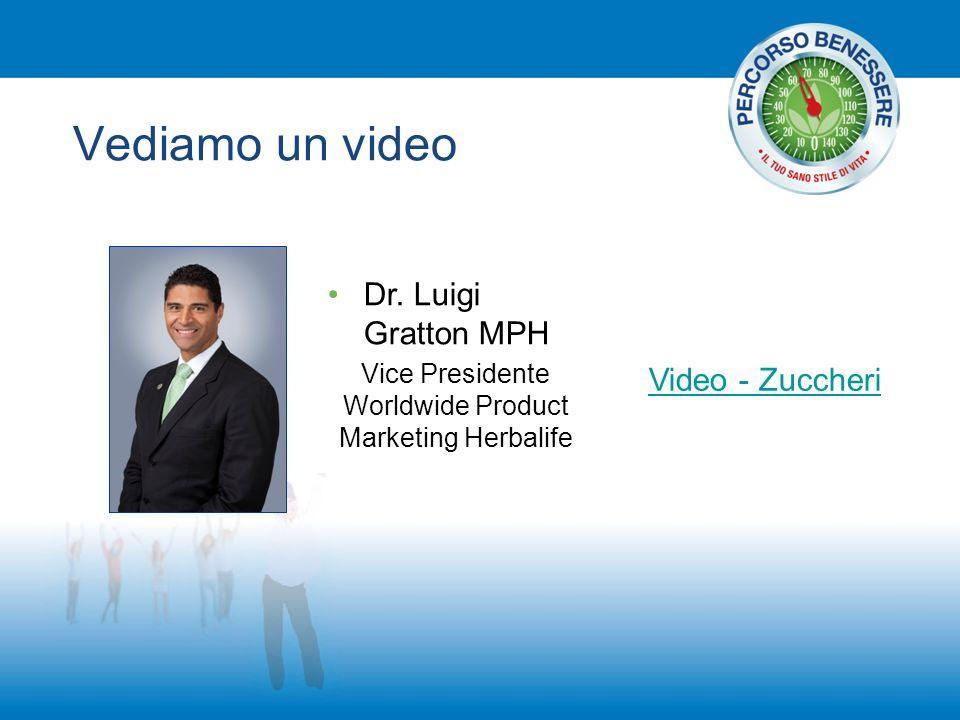 Vediamo un video Video - Zuccheri Dr. Luigi Gratton MPH Vice Presidente Worldwide Product Marketing Herbalife